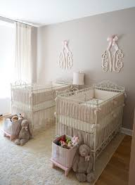 pink ivory and grey twin girls nursery