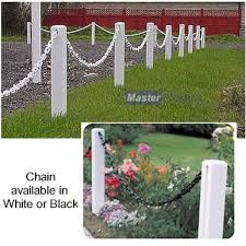 Plastic 600mm White Post And 1m White Chain Garden Fence Pack Chain Fence Decorative Garden Fencing Front Garden