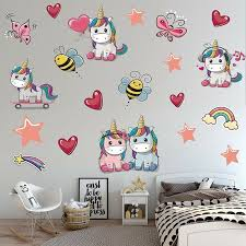 1 Set Cartoon Unicorns Wall Sticker Girls Bedroom Decal Art Nursery Decors For Sale Online