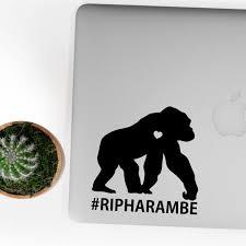 Rip Harambe Gorilla Sticker Gorilla Decal Chimp Monkey Decal Etsy
