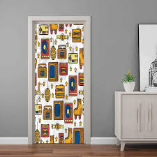 Amazon Com Door Mural 90s 90s Theme Icons Retro Peel And Stick Removable Vinyl Door Decal For Home Office Decoration 32 X 80 Inch Baby