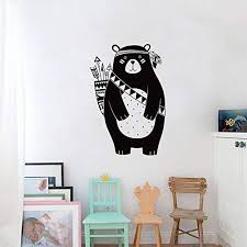 Amazon Com Fangkuai Fkal0232 Tribal Bear Wall Decal Woodland Animal Bear Wall Sticker For Kids Room Tribal Nursery Wall Sticker Home Decoration Vinyl Mural Home Kitchen