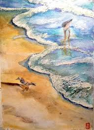 By The Sea Painting by Myrna Brooks Bercovitch
