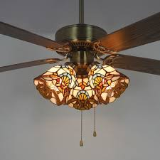 stained glass bell led ceiling fan