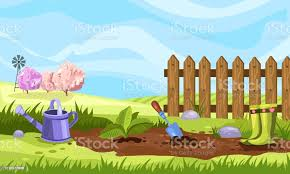 Vector Stock Banner With Spring Garden Rubber Boots Fence Watering Can Soil And Trees In Bloom Garden Bed With Seedling Trowel In Cartoon Style Stock Illustration Download Image Now Istock