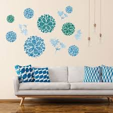 Shop Elegant Flower Pattern Wall Stickers Removable Art Decal For Bedroom Living Room Blue Overstock 29186849