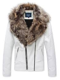 fur collar faux leather zipper thick