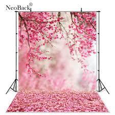 خلفية فينيل لربيع وردي مزهرة على شكل زهرة خوخي مولود جديد صور