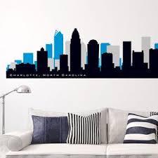 Charlotte North Carolina Skyline Wall Decal Landmarks City Etsy