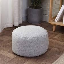 Pouf Ottoman Footstool Cover No Filling Solid Color Bean Bag Floor Chair Comfortable Foot Rest Pouffe Removable For Living Room Bedroom Kids Room Khaki 32x20cm 12 6x7 9inch Walmart Com Walmart Com