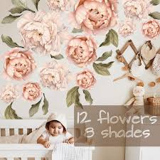 Large Peony Flowers Wall Sticker Vintage Peony Watercolor Wall Stickers Large Set Wall Decal Vinil Wall Decals Modern Design For Living Room Nursery Wall Decoration Wish