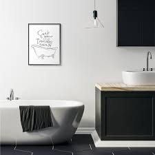 Shop Stupell Industries Soak Your Troubles Away Ink Drawing Bathroom Design Framed Wall Art Overstock 30996829