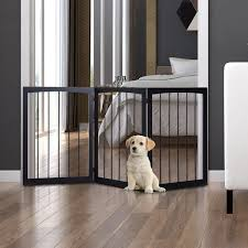 Pawhut Free Standing Folding 3 Panel Pet Gate Child Safety Fence Wooden Foldable Dog Indoor Portable Separation Barrier Guard Dog Cages Playpens Aosom Uk