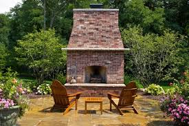 outdoor brick fireplace landscaping