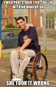 drake hair tied chillen with no makeup