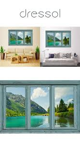 Mailingart Wall Sticker Home Decor False Faux Window Sticker Mountain And Water Wallstickers Wall Wall Stickers Home Decor Faux Window Christmas Wall Stickers