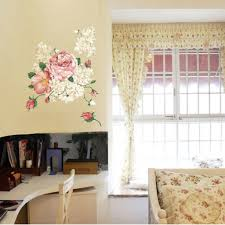 Peony Flower Wall Decor Living Room Elegant Well Decal Romantic Floral Wall Art Prints Vinyl Wall Stickers Peel And Stick Girls Bedroom Thefuns On Artfire