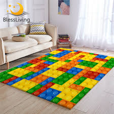 Blessliving Toy Print Kids Carpet Dot Building Blocks Rugs For Bedroom Boy 3d Carpet Colorful Bricks Game Living Room Carpet Myzonee Th