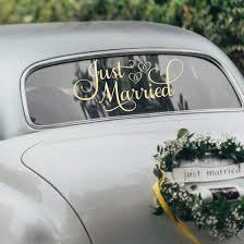 Amazon Com Metallic Gold Just Married Car Decor Just Married Car Window Decal Gold Wedding Decorations 24 W X 12 H Metallic Gold Handmade