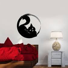 Cat Silhouette Wall Decal Circle Enso Hinduism Yoga Meditation Room Bedroom Interior Decor Vinyl Stickers Kitten Wallpaper Q979 Wall Stickers Aliexpress