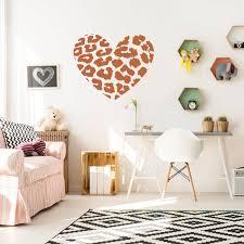 Leopard Heart Wall Sticker Art Print Texas Vinyl Decal Etsy