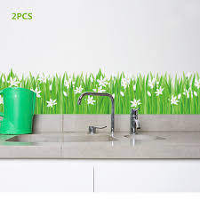2pcs White Lily Flower Green Grass Wall Decals Home Decor Line Grass And Flower Border Decal Wall Stickers Aliexpress