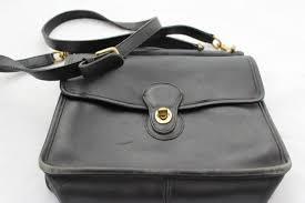 vintage coach black leather purse cross