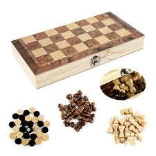 wooden pieces folding board chess set