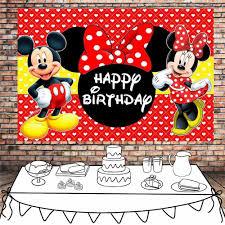Feliz Cumpleanos Mickey Poster Plantilla Mesa De Postre Minnie