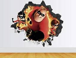 Amazon Com The Incredibles Wall Decal Smashed 3d Sticker Vinyl Decor Mural Disney Movie Kids Broken Wall 3d Designs Ah49 Large Wide 40 X 36 Height Home Kitchen