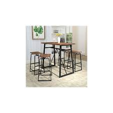 Homissue 5 Piece Dining Room Table Set Counter Height Bar Table With 4 Stools Perfect For Small Dining Space Kitchen Homecodex