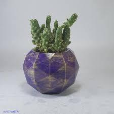 purple plant pot decorative flowers