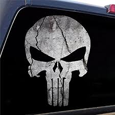 Amazon Com Punisher Skull Cracked Rock Stone Military Decal Sticker Graphic 4 Sizes Available 18 High X 13 Wide 13 High X 9 Wide Automotive