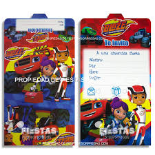 Tarjetas De Invitacion Blaze And The Monster Machines Paquete X