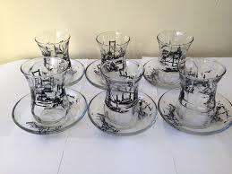 turkish tea set glass cups saucers