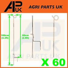 60x Electric Fence Pigtail Posts Stakes Steel 3ft Poly Wire Rope Tape Insulators Ebay
