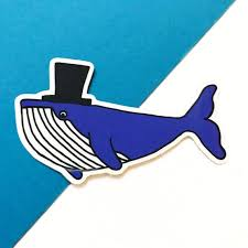 Fancy Whale Vinyl Decal Whale Vinyl Sticker Whale Gifts Etsy