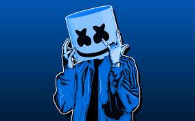 تحميل خلفيات Dj Marshmello 4k خلفية زرقاء أمريكا دي جي الحد