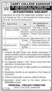 Cadet College Sanghar Jobs 2020 in Tando Adam 2020 Cadet College Jobs in  Tando Adam Pakistan
