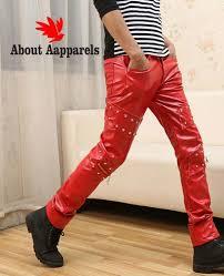men faux leather pants nightclub skinny