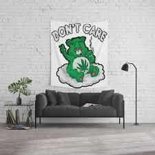 Do Not Care Bear Smoking Bear Hemp Leaf Ganja 420 Wall Tapestry By Moonpie90 Society6