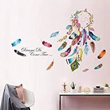 Amazon Com Decalmile Dream Catcher Feathers Wall Decals Quotes Dreams Come True Wall Stickers Bedroom Living Room Wall Decor Finished Size 54 W X 38 H Kitchen Dining