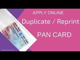 duplicate reprint pan card apply