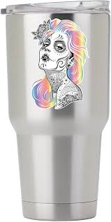 Amazon Com Sugar Skull Girl With Colored Hair 3 Inch Full Color Decal For Stainless Steel Tumbler Proudly Made In The Usa From Adhesive Vinyl Tumbler Not Included Kitchen Dining
