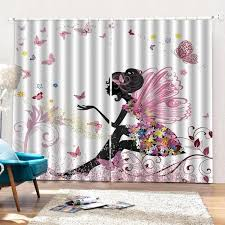 Forest Fairy Girl With Pink Butterfly Blackout Curtains For Children Baby Room Colorful Curtains For Girl S Room Drapes Thefashionique