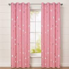 Amazon Com Buzio Star Print Blackout Curtains For Kids Room And Game Room Room Darkening Grommet Window Curtains For Nap Time 52 X 84 Inches 2 Panels Baby Pink Kitchen Dining