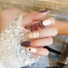 24pcs lattice round false nails art