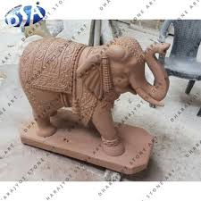 beautiful pink marble standing elephant