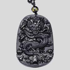black obsidian dragon necklace pendant