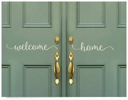 Front Double Door Welcome Home Decal Welcome Sticker Greeting Etsy
